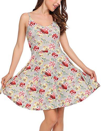 Beyove Women's Adjustable Strappy Dress Skater Pleat Dress