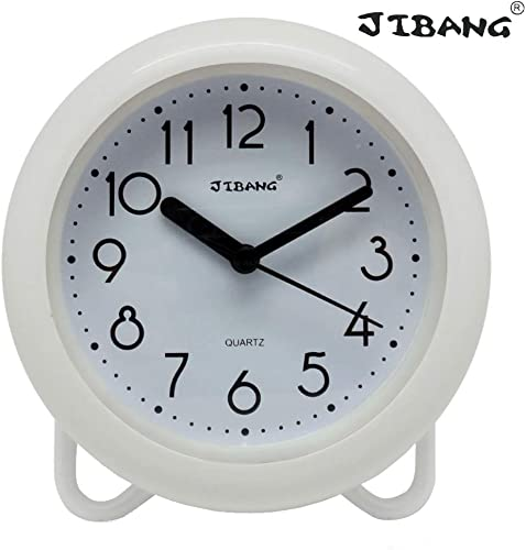 JIBANG Waterproof Bathroom Clock, Desktop Clocks for Bathroom, 7 Inches Silent Non-Ticking Prevent Mist Wall Clock, White