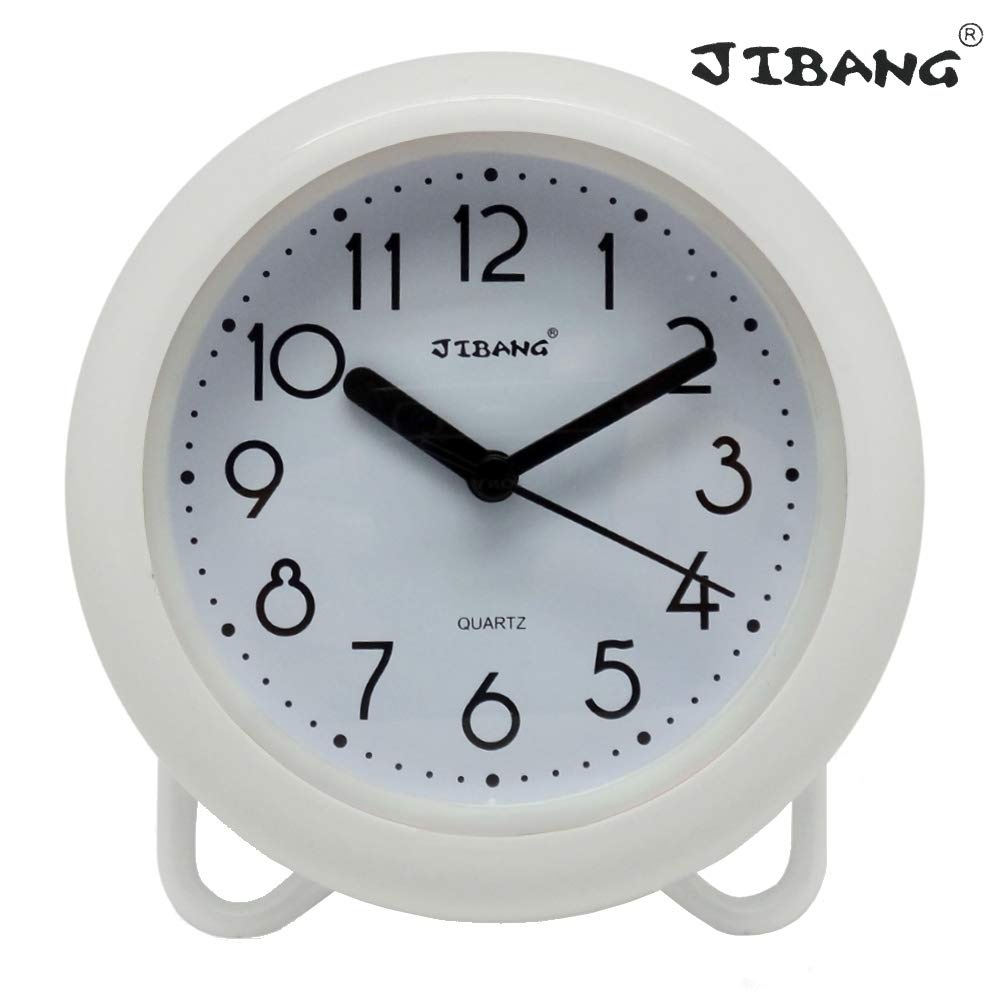 JIBANG Waterproof Bathroom Clock, Desktop Clocks for Bathroom, 7 Inches Silent Non-Ticking Prevent Mist Wall Clock, 7 Colors are Optional, White by JIBANG