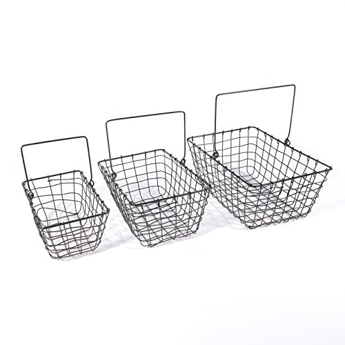 - SLPR Wire Storage Basket with Handle (Set of 3, Industrial Gray) | Tapered Rustic Vintage Basket Organizer for Kitchen Dining Room Nursery Garden Freezer