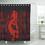 Emvency Shower Curtain Brown Native Kokopelli on Iroquois Orange American Southwest Waterproof Polyester Fabric 72 x 72 Inches Set with Hooks