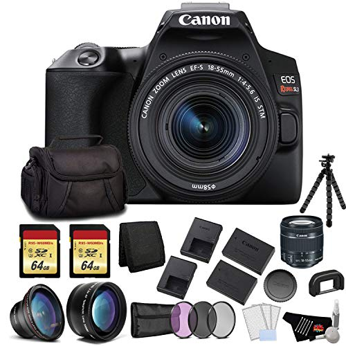 Canon EOS Rebel SL3 DSLR Camera with 18-55mm Lens (Black) Bundle with 2x64GB Memory Card + Battery for CanonLPE17 + LCD Screen Protectors +Wide Angle Lens + 2X Telephoto Lens +Tripod and More