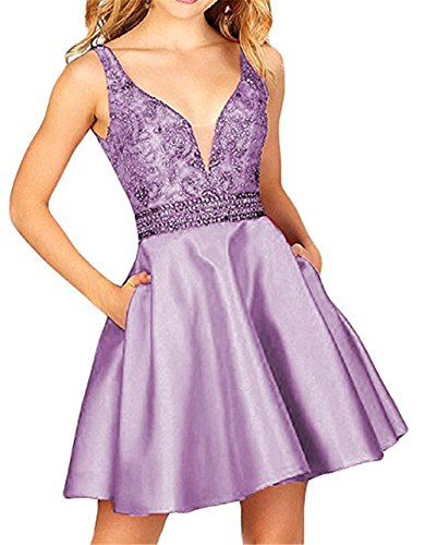 BRL MALL Women's Beaded Prom Homecoming Dress with Pocket Short Backless Formal Party Gown A line Lavender 2 ()