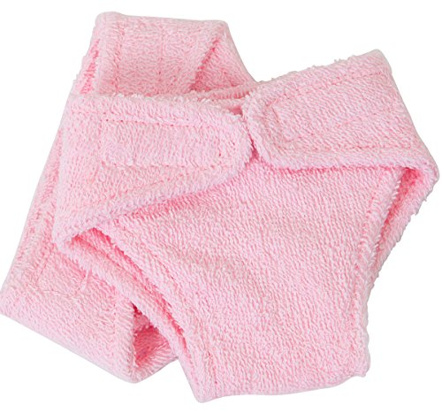 UK FRILLY LILY SMALL DOLLS PINK TERRY NAPPIES X 2 PACK , DESIGNED TO FIT DOLLS APPROX 14-18 INS [35-45 CM] SUCH AS 43 CM BABY BORN,TINY TEARS,SMALLER GOTZ AND COROLLE DOLLS