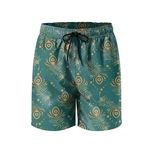 Cute Gypsy Vintage Peacock Pattern Quick Dry Young Men Beach Board Shorts