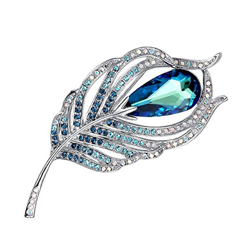 - Merdia Brooches Pin for Women Bridal Glittery Crystal Feather Brooch Blue