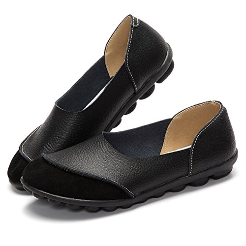 Adibosy Damen Casual Wohnungen Leder Warking Loafers Slip-On Driving Mokassins Schuhe Schwarz