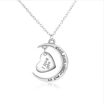 85bdd8e66d JMZDAW Halskette Anhänger Ich Liebe Dich Bis Zum Mond Und Zurück Halskette  Halskette Damen Herren Paar