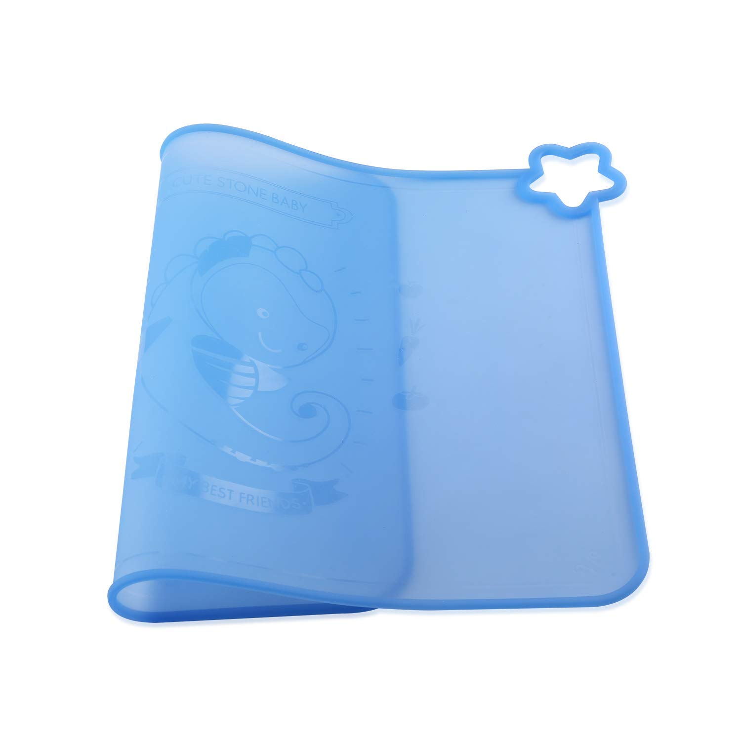 Silicone Baby Placemats for Children Kids Toddlers, Cute Stone Baby Placemats Travel with Raised Edge, Non Slip Surface, Waterproof, Portable, Easy to Clean, Dishwasher Safe, BPA Free, Blue