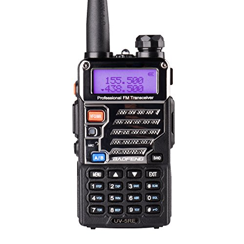 Baofeng UV-5RE Two Way Radio Long Range Walkie Talkie UHF VHF Radio Dual-Band136-174/400-480 MHz 128Channels Upgrade Enhanced Metallic Version FM Amateur Portable Radio Transceiver Black