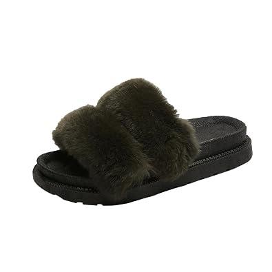 Womens Breathable Home Slipper Fluffy Faux Fur Flat Slipper Flip Flop Sandal Platform Shoes