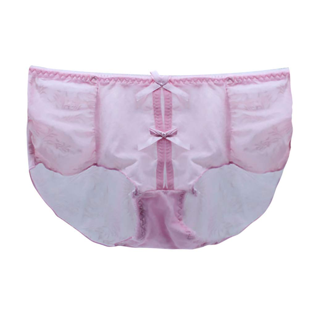 Briefs for Women,Lace Bow Panties Lingerie Thongs Underwear 6 Colors Pink