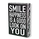 Kitchen Bar on Hope Street Sarco & Friends Home Decor Decorative Sign - 6'' x 9'' Box Sign with Smile and Happiness Quote - Perfect for Gift or Brightening Home