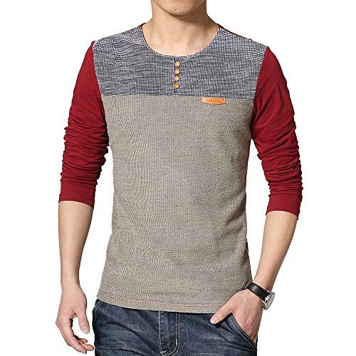 - LEEFONA Men's Long Sleeve Slim Fit Contrast Color Stitching Stripe Crewneck T-Shirts (001-L-Red-s)