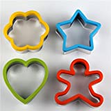 Cookie Cutter Set - Plastic Cookie Cutters - 4 Piece Cutter Shapes - Cloud, Snowman, Star, And Heart Shape - BEST Quality Biscuit cutter - Easy To Use - FDA Approved - Dishwasher Safe - By Candy Craze
