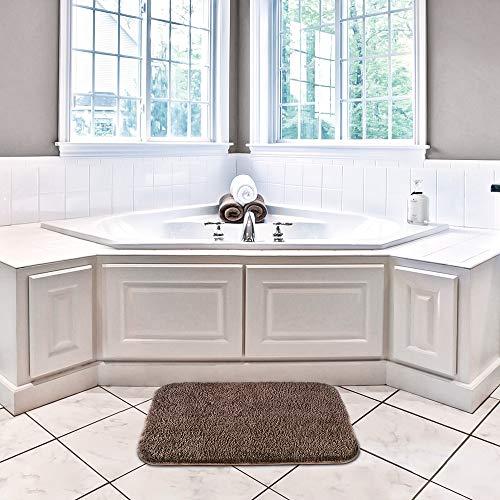 Non Slip Bath Mat Thickened Bath Rug for Bathroom Absorbent Ultra Soft Bathroom Mat Rug Fluffy Microfiber Bedside Rug Carpet Floor Mat, Quick-drying, Machine Washable - 40 x 60cm (Chocolate)