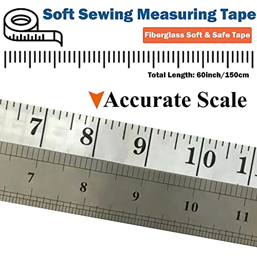 J.CARP 6 Pack Tape Measure, Measuring Tape for Body, Fabric Sewing Tailor Cloth Craft Measurements, 60 Inches Soft Measure Tape for Body Weight Loss