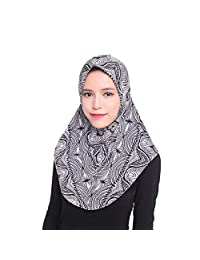 Froomer Lace Embroidery Chiffon Muslim Cap Hijab Scarf Islamic Cover Head Scarf