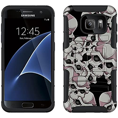 Samsung Galaxy S7 Armor Hybrid Case Black Skulls On Black 2 Piece Case with Holster for Samsung Galaxy S7 Sales