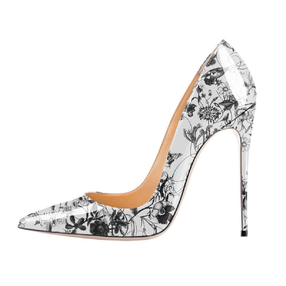 Fuxitoggo Pompes à Fleurs imprimées Femmes Chaussures à Talons Hauts (coloré : Beige, Taille : EU 36)