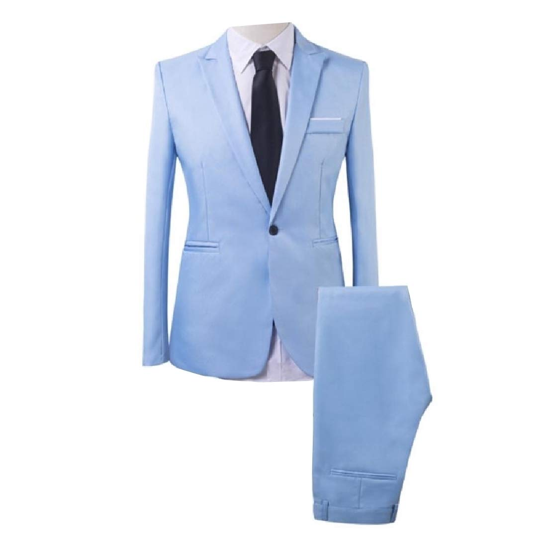 Fnnmk Men Notched Lapel Collar 1 Button Blazer Jacket & Flat Pants Set