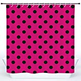 Hot Pink and Black Shower Curtain SCOCICI Waterproof Shower Curtain,Hot Pink,Pop Art Inspired Design Retro Pattern of Black Polka Dots Classical Spotted,Hot Pink Black,Polyester Shower Curtains Bathroom Decor Set with Hooks