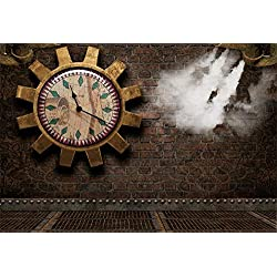 Laeacco Steampunk Backdrop 10x6.5ft Vinyl Photography Background Vintage Clock Whell Gear Pattern Fiction Scene Old Clock Wall Industrial Age Background
