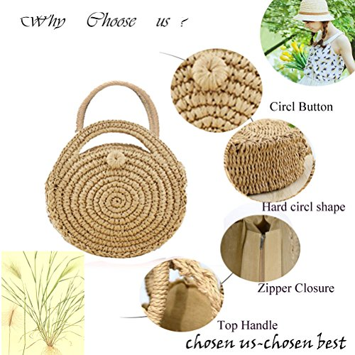 Fashion Crossbody Tassel Abuyall Ii Beach Large Straw Bag Bag Round Weave Bag Large Summer Mini Tote Zip Tassel Women's Shape Crossbody Mini Bag Shopping Cute Shoulder UPUxqpn