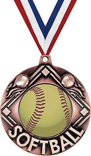Crown Awardsブロンズ第三位ソフトボールメダル - 2 1/4インチソフトボールメダル 赤、白、青のネックリボン付き B07GRHLB23  10