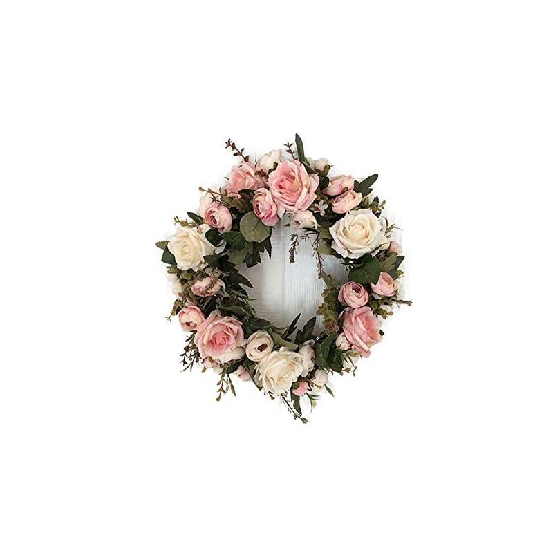 silk flower arrangements lahomey 12-inch rose flower wreath, peony flowers garland wreath, handmade home decoration for wedding christmas party