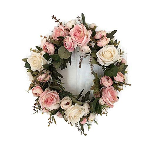 (LaHomey 12-Inch Rose Flower Wreath, Peony Flowers Garland Wreath, Handmade Home Decoration for Wedding Christmas Party)