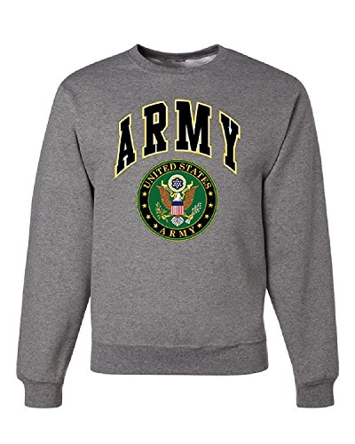 Sweatshirt Military Logo (US ARMY CREW NECK SWEATSHIRT ARMY LOGO CREST PATRIOTIC, Gray, S, Gray, S)