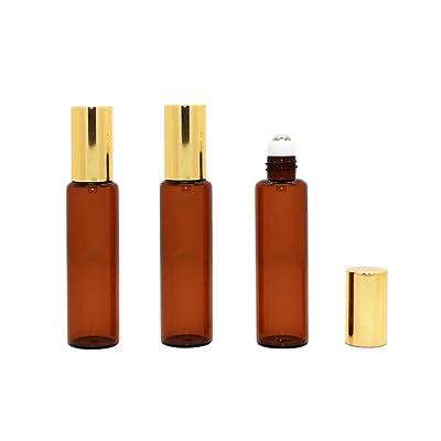 3pcs 10ml/0.3oz upscale rellenable Empty Attar roll-on botellas de cristal ámbar con bolas de rodillo de acero inoxidable y tapa de oro para aceite esencial Perfumes cristal maquillaje almacenamiento contenedor