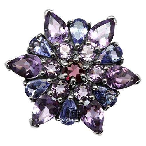 2.88ct. Genuine Amethyst & Tanzanite 925 Sterling Silver Flower Cluster Cocktail Ring Size 9