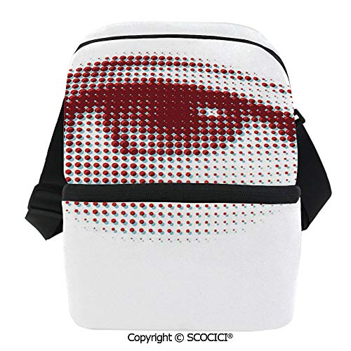 SCOCICI Collapsible Cooler Bag Retro Style Halftones Eye Shape Abstract Dotted Design Groovy Artistic Elements Insulated Soft Lunch Leakproof Cooler Bag for Camping,Picnic,BBQ
