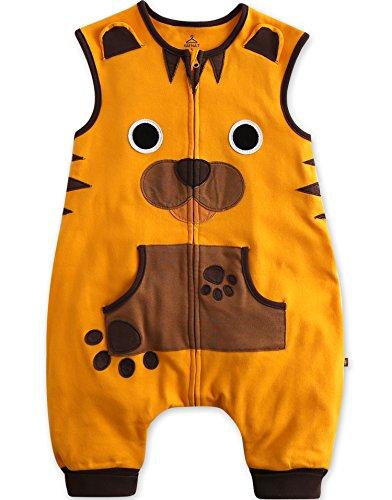 Vaenait baby Kids Boys Double-Layered Cotton Wearable Blanket Sleeper Yellow Tiger L (Tiger Sleeper)