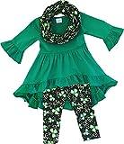 Angeline Boutique Clothing Girls ST. Patrick's Day Luck of Irish Tunic Leggings Scarf Set