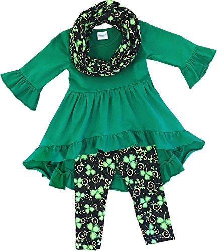 Angeline Boutique Clothing Girls ST. Patrick's Day Luck Of Irish Tunic Leggings Scarf Set