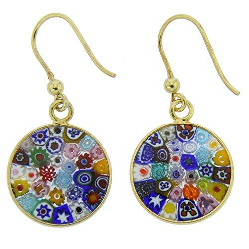 GlassOfVenice Murano Glass Millefiori Round Dangle Earrings - Gold ()