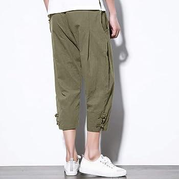 Tymhgt Men Casual Slim Linen Capri Pants Elastic Waist Drawstring Shorts