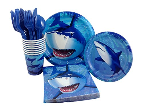 Shark Birthday Party Supply Pack! Bundle Includes Paper Plates, Napkins, Cups & Silverware for 8 Guests by Creative Converting
