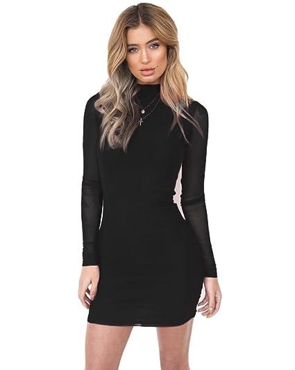 Amazon Romacci Sexy Women Bodycon Mini Dress Sheer Mesh Sleeves