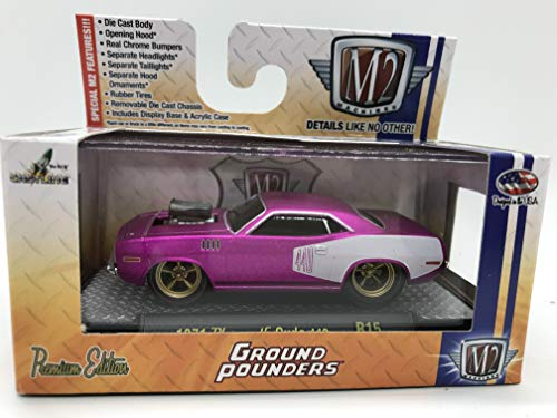 M2 Machines Ground-Pounders 1971 Plymouth Cuda 440 1:64 Scale R15 16-02 Matte Purple/White Details Like NO Other! Over 42 Parts