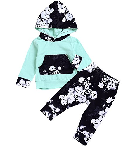 HappyMA HappMA Infant Baby Girl Fall Outfits Long Sleeve Floral Hoodie Tops +Pants Clothes Set (18-24 Months)