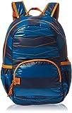 Lassig Kids Cute Quilted Backpack Big Pre-School Kindergarten Bag with chest strap, name badge and drink Bottle Holder, Striped Petrol/Blue