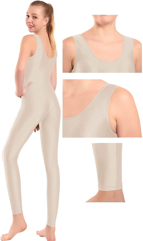 Mvefward Women Lycra Spandex Sleeveless One Piece Tank Jumpsuit Unitard for Adult