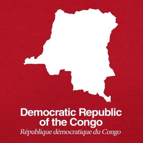 Democratic Republic of the Congo / Demokratische Republik Kongo Silhouette - Damen T-Shirt - Rot - XXL
