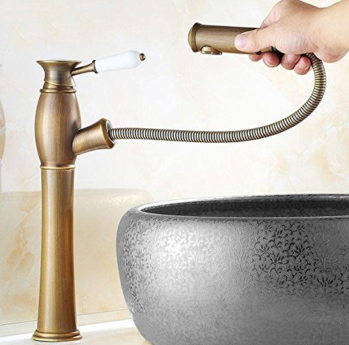 AWXJX European Retro Style Copper Basin Bath and Pull Out Hot and Cold Sink Mixer Tap Faucet by AWXJX Sink faucet