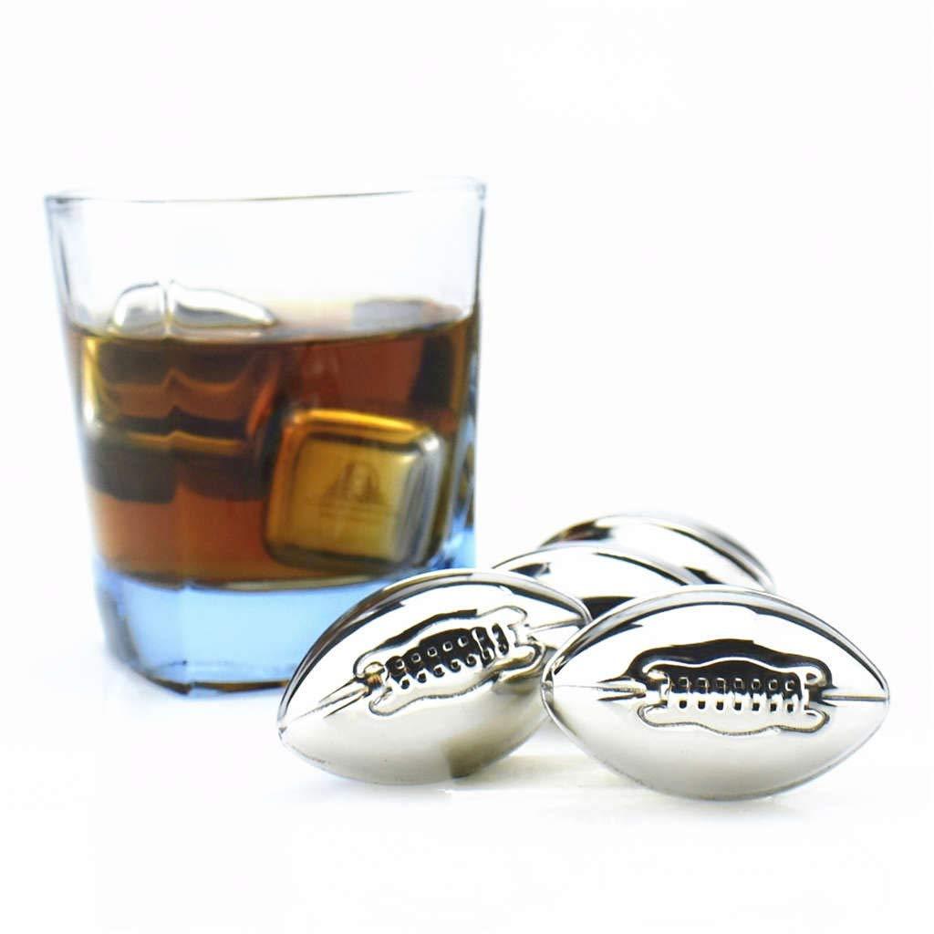 Transer yao Gla/çons en Acier Inoxydable,Les Gla/çons R/éutilisables en M/étal de Cubes de Glace dacier Inoxydable avec Le Whiskey Gardent Le Froid-Rugby B:4PCS
