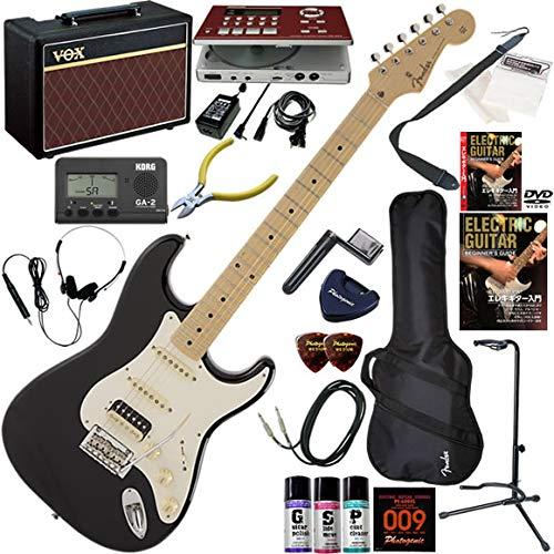 FENDER エレキギター 初心者 入門 日本製 定番モデルのルックスにモダンなスペックが調和したストラト。PUはH-S-S構成。 ギターの練習が楽しくなるCDトレーナー(エフェクターも内蔵)と人気のギターアンプVOX Pathfinder10が入った強力21点セット Made in Japan Hybrid 50s Stratocaster HSS/OTM(オーシャンターコイズメタリック) B07QLHQDTD BLK(ブラック)  BLK(ブラック)